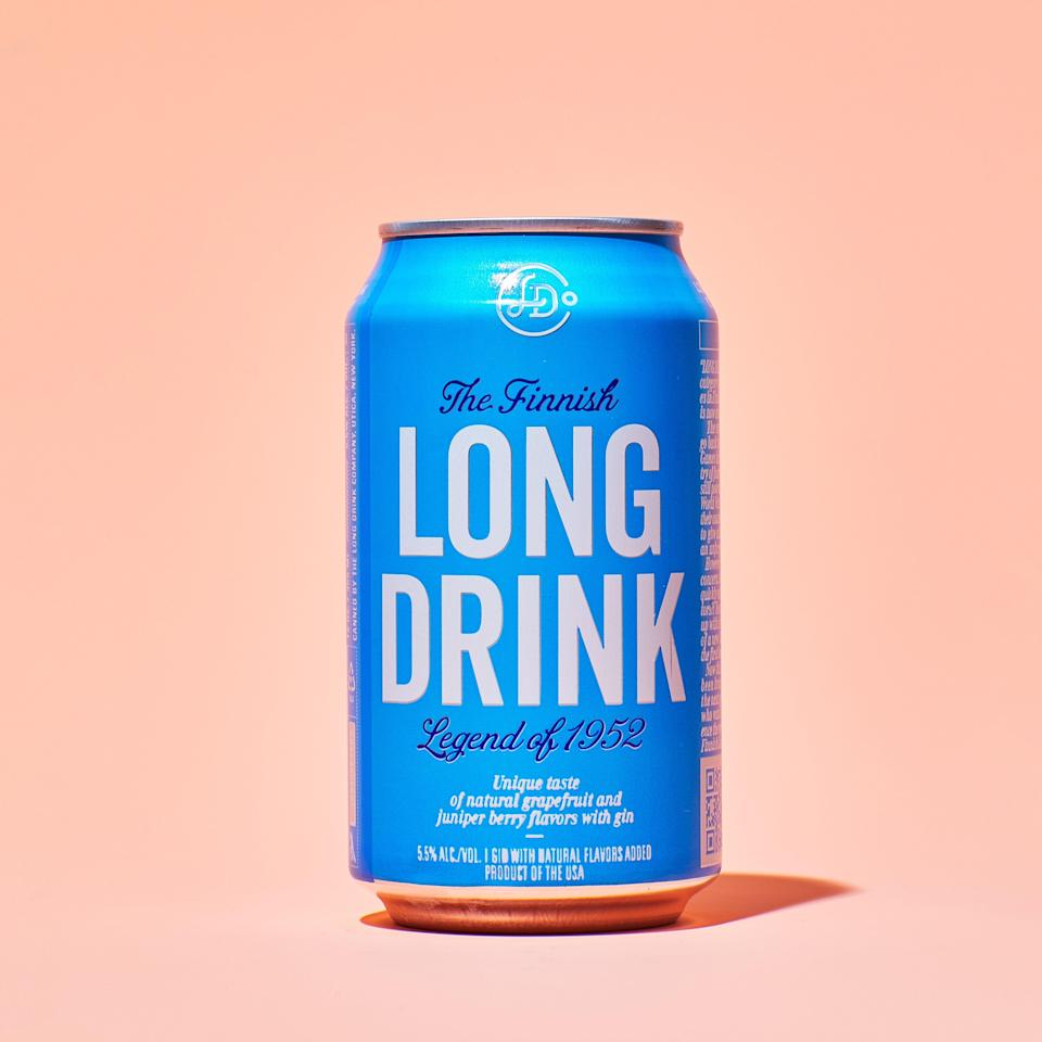 """Tangy, sweet, and highly crushable, this gin and grapefruit soda is like a zesty, grown-up Sprite. Based on a well-known Finnish drink that's typically served on draught, it's an easy crowd-pleaser that goes just as well with a side of fries as it does your drive-in movie popcorn. $15, Drizly. <a href=""""https://drizly.com/liquor-brands/the-long-drink-company/b21272"""" rel=""""nofollow noopener"""" target=""""_blank"""" data-ylk=""""slk:Get it now!"""" class=""""link rapid-noclick-resp"""">Get it now!</a>"""