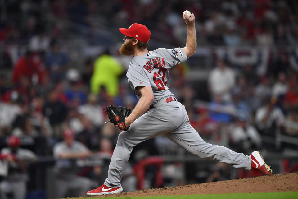 St. Louis Cardinals relief pitcher John Brebbia (60) works against the Atlanta Braves in the seventh inning during Game 1 of a best-of-five National League Division Series, Thursday, Oct. 3, 2019, in Atlanta. (AP Photo/John Amis)
