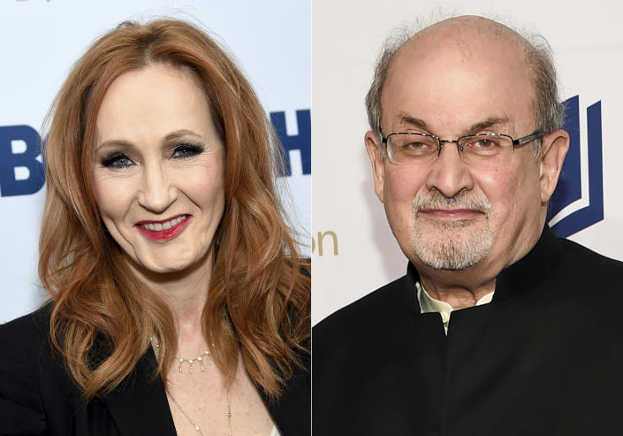 "This combination photo shows authors J.K. Rowling, left, and Salman Rushdie. Rowling, threatened legal action against a British news site that suggested she was transphobic after referring to controversial tweets she has written in recent months. Rushdie was forced into hiding because of death threats because of his novel ""The Satanic Verses."" (AP Photo)"