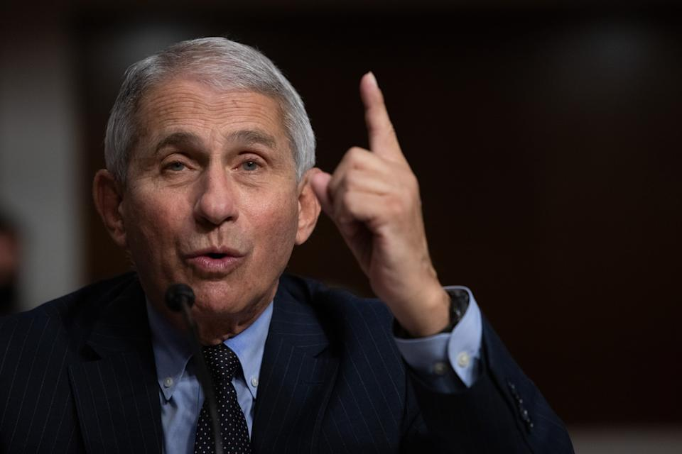 Anthony Fauci, director of the National Institute of Allergy and Infectious Diseases, speaks during a Senate Health Education Labor and Pensions Committee hearing in Washington, D.C., U.S., on Wednesday, Sept. 23, 2020. (Graeme Jennings/Washington Examiner/Bloomberg via Getty Images)