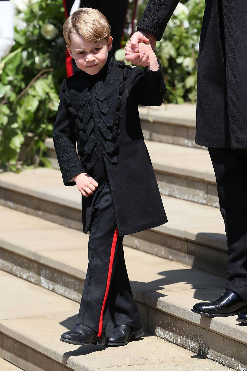 """<p>Quite possibly the weirdest royal family rule is that boys are expected to wear shorts at all times (yup, even through England's harsh winter climate). George made his <a href=""""https://www.marieclaire.com/fashion/a20870363/prince-george-wears-pants-royal-wedding/"""" rel=""""nofollow noopener"""" target=""""_blank"""" data-ylk=""""slk:first-ever debut in pants"""" class=""""link rapid-noclick-resp"""">first-ever debut in pants</a> at Harry and Meghan's wedding.<br></p>"""