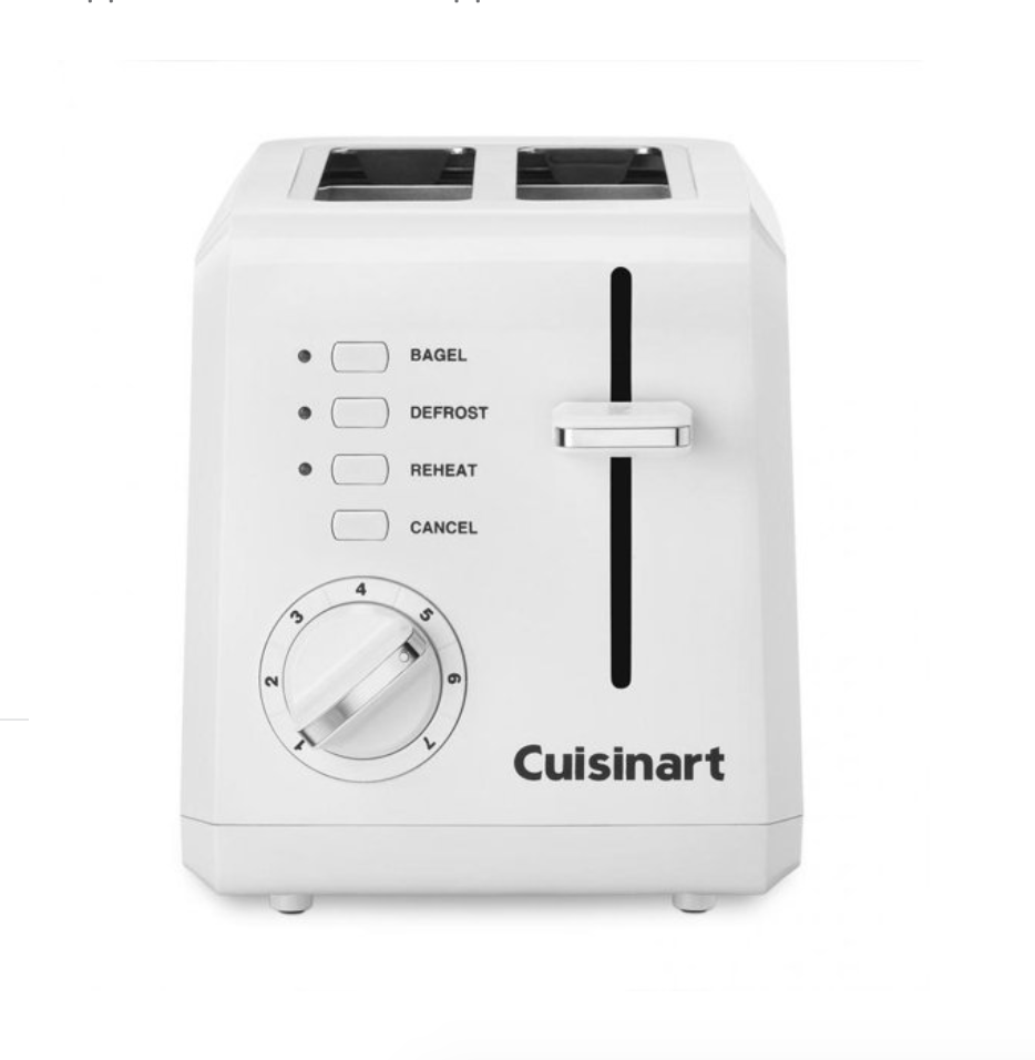 """<p><strong>Cuisinart</strong></p><p>bedbathandbeyond.com</p><p><strong>$29.99</strong></p><p><a href=""""https://go.redirectingat.com?id=74968X1596630&url=https%3A%2F%2Fwww.bedbathandbeyond.com%2Fstore%2Fproduct%2Fcuisinart-reg-compact-2-slice-toaster-in-white%2F1040901183&sref=https%3A%2F%2Fwww.goodhousekeeping.com%2Fappliances%2Ftoaster-reviews%2Fg4921%2Ftop-tested-toasters%2F"""" rel=""""nofollow noopener"""" target=""""_blank"""" data-ylk=""""slk:Shop Now"""" class=""""link rapid-noclick-resp"""">Shop Now</a></p><p>If you'd rather not give up too much counter space or live in a house or dorm with a small-sized kitchen, the Cuisinart 2-Slice Compact Toaster (6.5 x 11 x 7 inches) is your best bet. The settings (bagel, defrost and reheat) are easy to read and select, and it unfailingly toasts bread to golden brown doneness. More perks: The Cuisinart's <strong>slots are wide enough to accommodate thick bagels</strong> and the nice white exterior won't show a single fingerprint. </p>"""