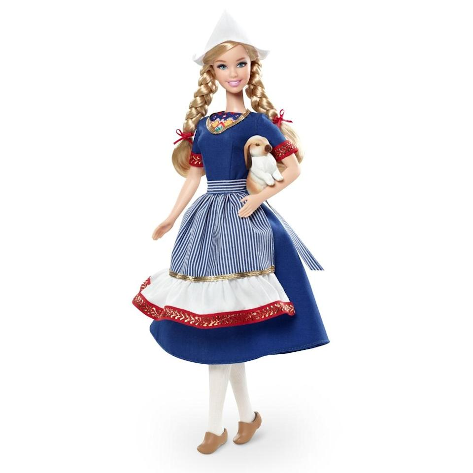 """<div class=""""caption-credit"""">Photo by: Mattel.com</div><b><div class=""""caption-title"""">Holland Barbie</div></b>While their costumes may be inspired by their """"homelands,"""" they aren't exactly accurate. In <a href=""""http://youtu.be/3w6In13RJCs"""" rel=""""nofollow noopener"""" target=""""_blank"""" data-ylk=""""slk:a 2012 video"""" class=""""link rapid-noclick-resp"""">a 2012 video</a>, Barbie Collector Designer Linda Kyaw calls this Holland Barbie doll's outfit """"a glamorous interpretation"""" of what the Dutch used to wear, though her clogs are actually made of wood, not plastic."""