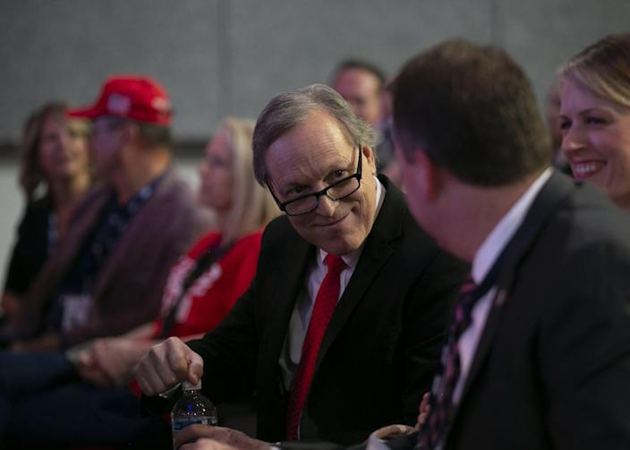 Rep. Andy Biggs looks on at the start of the Students for Trump rally at which President Donald Trump will speak at Dream City Church in Phoenix on June 23, 2020.