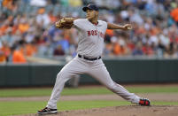 Boston Red Sox starting pitcher Eduardo Rodriguez throws to the Baltimore Orioles in the first inning of a baseball game, Tuesday, June 9, 2015, in Baltimore. (AP Photo/Patrick Semansky)