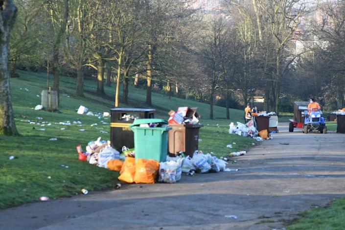 Rubbish left all over the Arboretum in Nottingham on Monday evening. (Reach)