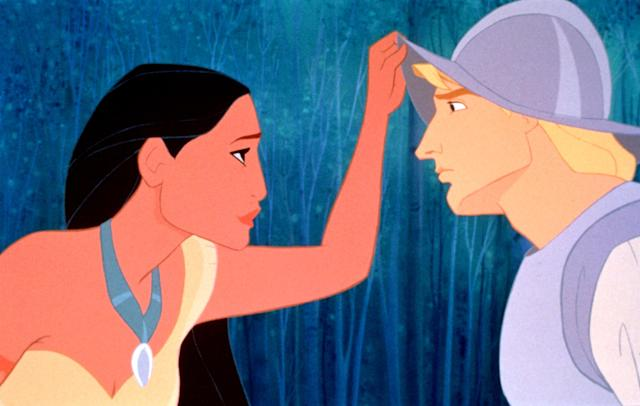Pocahontas (Bedard) meets John Smith (Mel Gibson) for the first time. In real life, the actors never met. (Photo: Buena Vista Pictures/Courtesy Everett Collection)