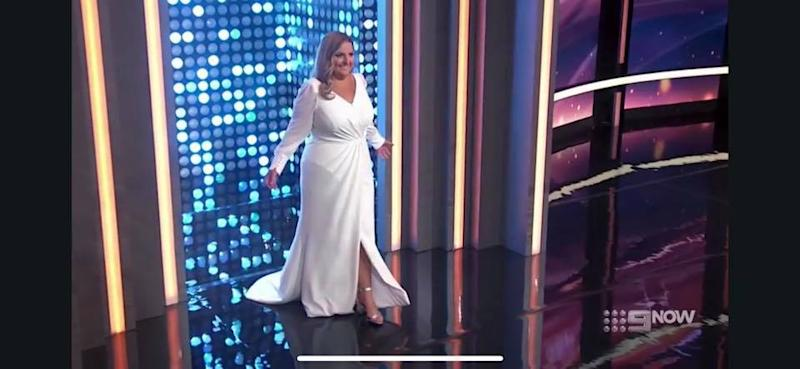 Joanna now plans on having her wedding dress altered to be a size 14. Photo: Channel Nine