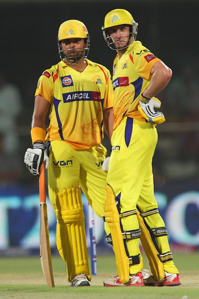 Suresh Raina and Michael Hussey during the qualifier 1 match of the 2013 Pepsi Indian Premier League between The Chennai Superkings and the Mumbai Indians held at the Feroz Shah Kotla Stadium, Delhi on the 21st May 2013..Photo by Ron Gaunt-IPL-SPORTZPICS    ..Use of this image is subject to the terms and conditions as outlined by the BCCI. These terms can be found by following this link:..https://ec.yimg.com/ec?url=http%3a%2f%2fwww.sportzpics.co.za%2fimage%2fI0000SoRagM2cIEc&t=1498196269&sig=81q99VDHyCVc1wcmDdEBFA--~C