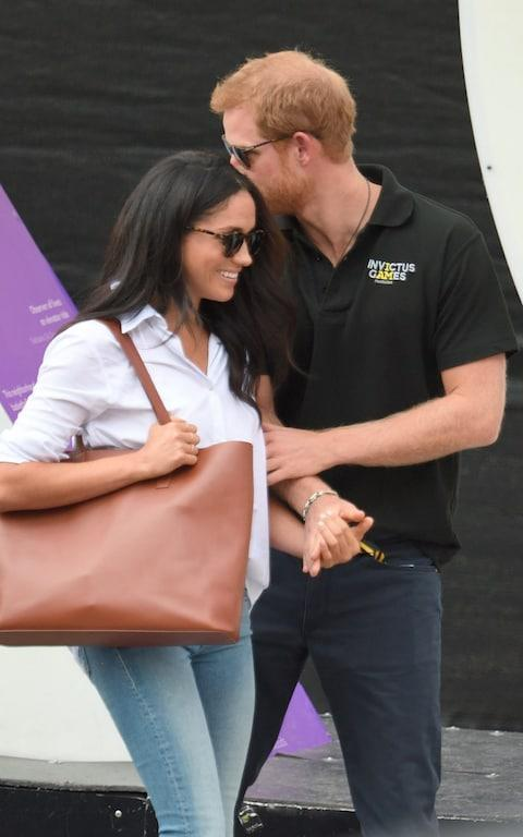 <span>Meghan Markle and Prince Harry attend the Wheelchair Tennis on day 3 of the Invictus Games</span> <span>Credit: Wireimage </span>
