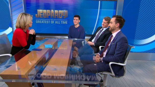 PHOTO: 'Jeopardy' all stars James Holzhauer, Ken Jennings and Brad Rutter appeared live on 'Good Morning America' before facing off against one another on the popular game show. (ABC News)