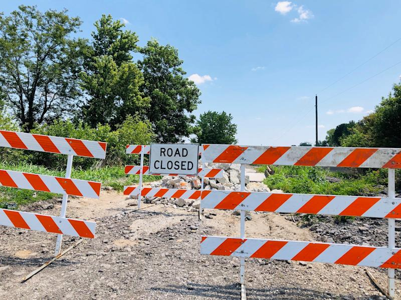 Bridge approach in Callaway County, Missouri, part of $700 million in 2019 flood and storm damage in 22 states.