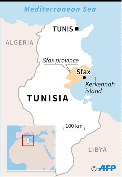 Map of Tunisia locating the city of Sfax and Kerkennah island, close to where the bodies of many migrants were recovered (AFP Photo/Sophie RAMIS)