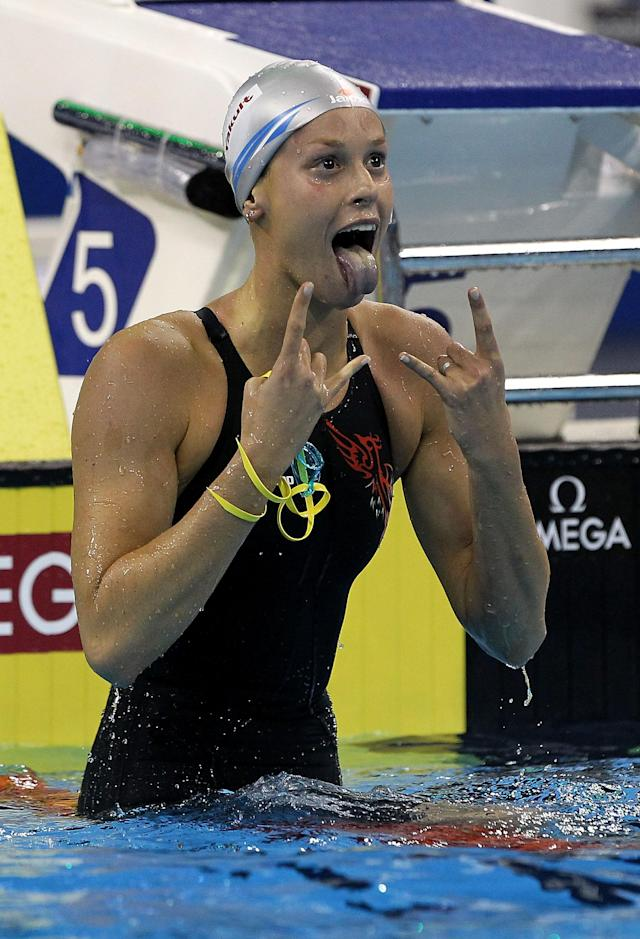 SHANGHAI, CHINA - JULY 27: Federica Pellegrini of Italy celebrates winning the gold medal in the Women's 200m Freestyle Final during Day Twelve of the 14th FINA World Championships at the Oriental Sports Center on July 27, 2011 in Shanghai, China. (Photo by Ezra Shaw/Getty Images)