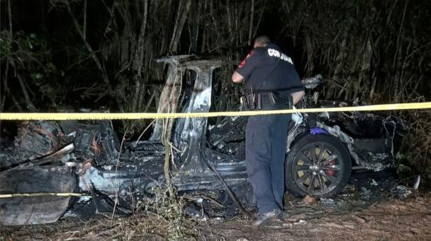 PHOTO: The remains of a Tesla vehicle are seen after it crashed in The Woodlands, Texas, April 17, 2021, in this still image from video obtained via social media. Video taken April 17, 2021.  (Social Media/via Reuters)