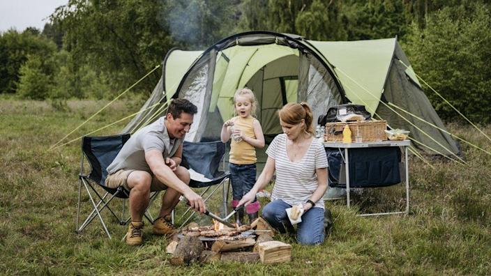 A family at a camp site