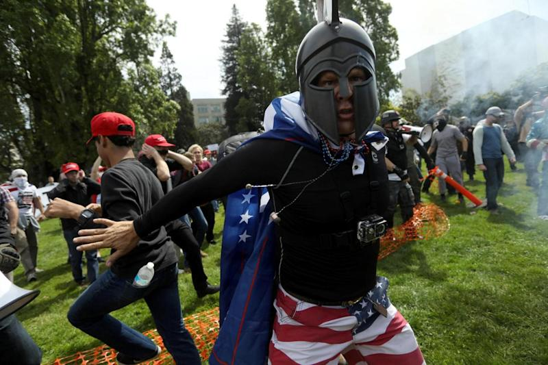 A pro-Trump protester at the Patriots Day Free Speech Rally in Berkeley, California (REUTERS)