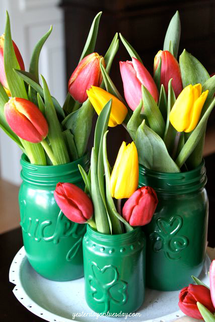 "<p>It doesn't take much to transform ordinary glass jars into special vases. Ordinary green spray paint and some Puffy Paint are your tools to creating these fun jars.</p><p><strong>Get the tutorial at <a href=""http://yesterdayontuesday.com/2012/03/st-pats-magic-vases/"" rel=""nofollow noopener"" target=""_blank"" data-ylk=""slk:Yesterday on Tuesday"" class=""link rapid-noclick-resp"">Yesterday on Tuesday</a>.</strong></p><p><a class=""link rapid-noclick-resp"" href=""https://www.amazon.com/s?k=puffy+paint&tag=syn-yahoo-20&ascsubtag=%5Bartid%7C2164.g.35012898%5Bsrc%7Cyahoo-us"" rel=""nofollow noopener"" target=""_blank"" data-ylk=""slk:SHOP PUFFY PAINT"">SHOP PUFFY PAINT</a><br></p>"