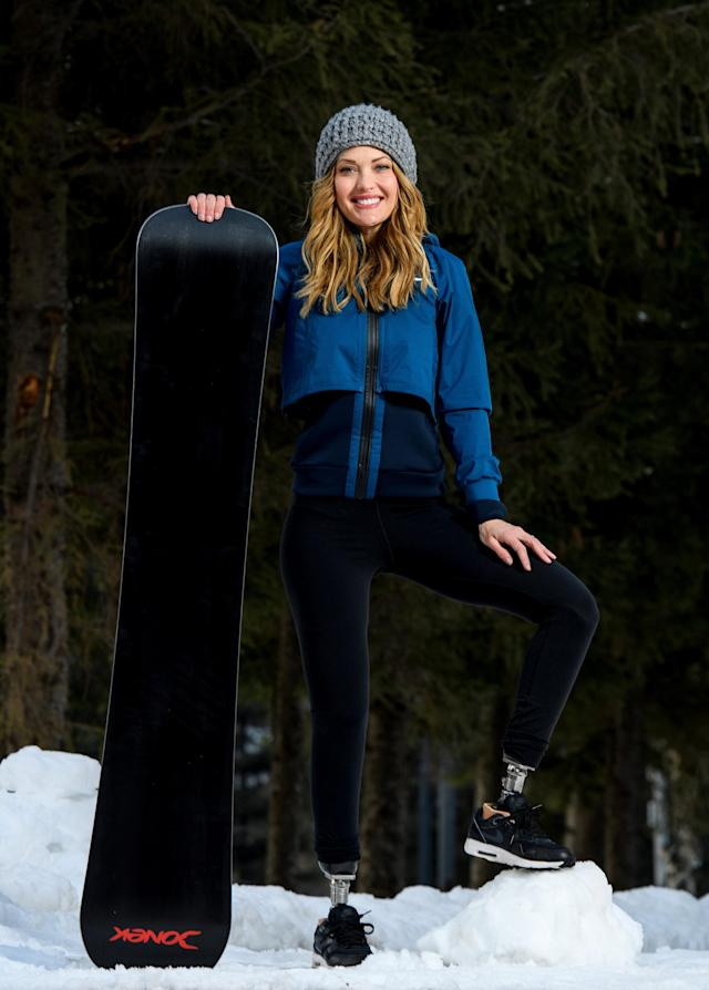 Amy Purdy USA poses for a photograph at the PyeongChang 2018 Paralympic Village. Bronze Medallist of the 2014 Sochi Winter Paralympic Games, in PyeongChang Purdy is competing in Women's Snowboard Cross SB-LL1 on the 12th of March and in Snowboard Banked Slalom SB-LL1 on the 16th of March. The Paralympic Winter Games, PyeongChang, South Korea, Sunday 11th March 2018. OIS/IOC/Thomas Lovelock/Handout via Reuters