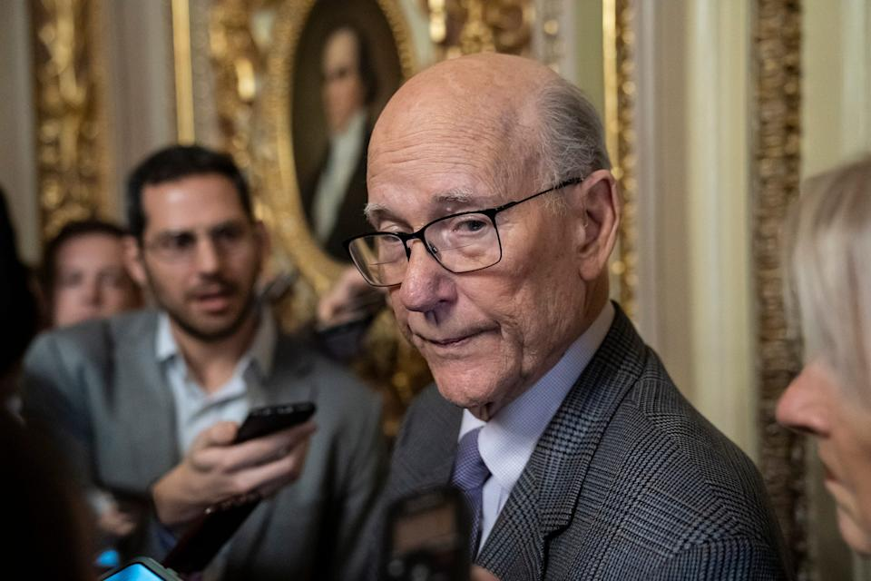 Republican Senator Pat Roberts of Kansas, chairman of the Senate Agriculture Committee, speaks briefly to reporters after he opened and closed a brief session of the U.S. Senate amid the partial government shutdown, at the Capitol in Washington, Thursday, Dec. 27, 2018. (AP Photo/J. Scott Applewhite) ORG XMIT: DCSA116