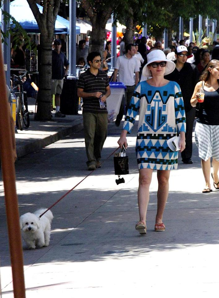 "Poor Lila! Debra Messing's dog must be so embarrassed to be seen alongside such an offensive outfit. Adrian Varnedoe/<a href=""http://www.pacificcoastnews.com/"" target=""new"">PacificCoastNews.com</a> - June 29, 2008"