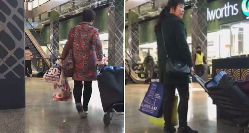 Two women are seen leaving with tins of baby formula in trolleys. Matt Ward claims he witnessed 10 people buy 100 tins from a Woolworths in Melbourne.