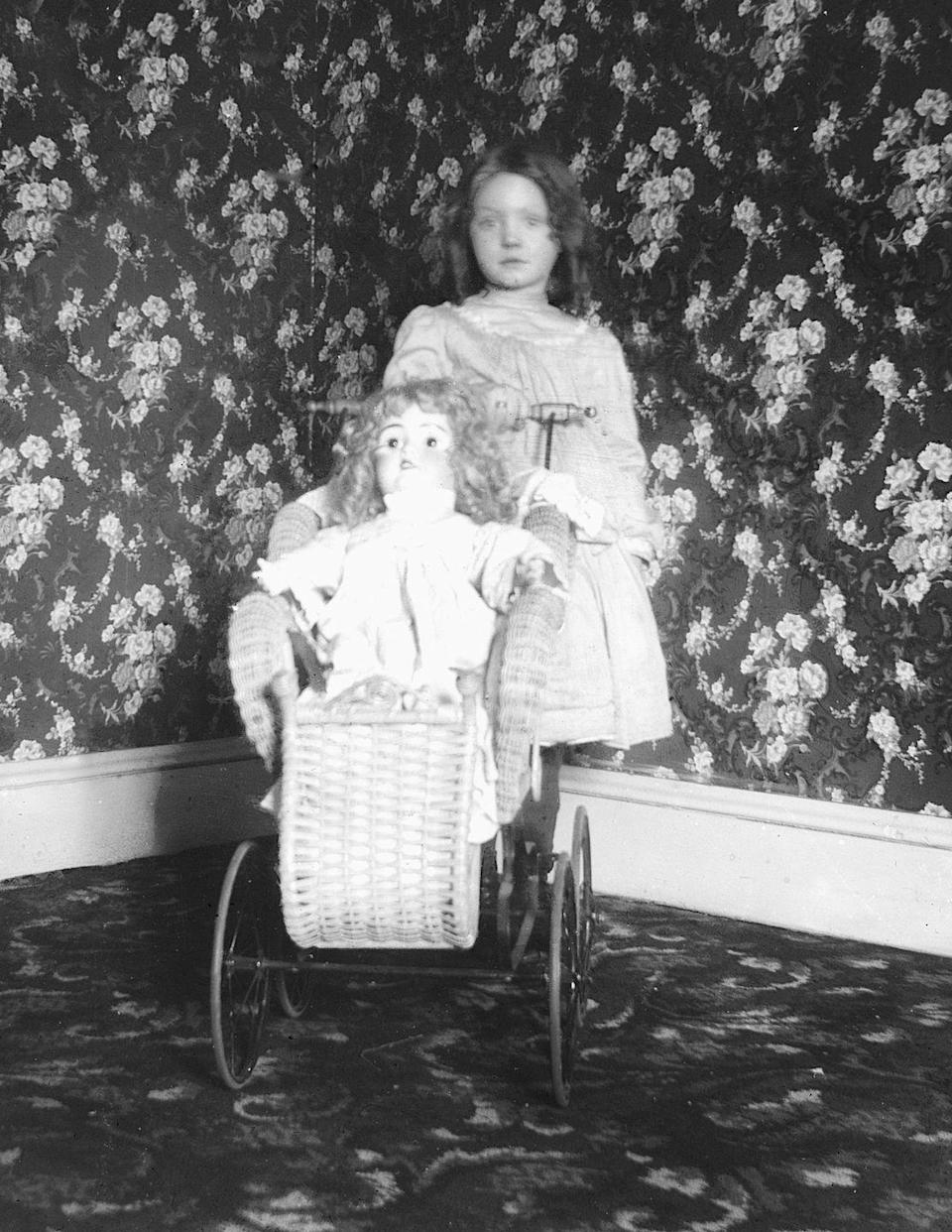 """<p>Here, a child poses with her rag doll. According to<em> Healthline</em>, pediophobia is the """"<a href=""""https://www.healthline.com/health/mental-health/pediophobia"""" rel=""""nofollow noopener"""" target=""""_blank"""" data-ylk=""""slk:intense and irrational fear of dolls"""" class=""""link rapid-noclick-resp"""">intense and irrational fear of dolls</a>,"""" and any people are said to develop the fear based on traumatic events that loosely relate to dolls. Many horror films, including <em>Child's Play</em> and <em>Annabelle, </em> play off that very phobia.</p>"""