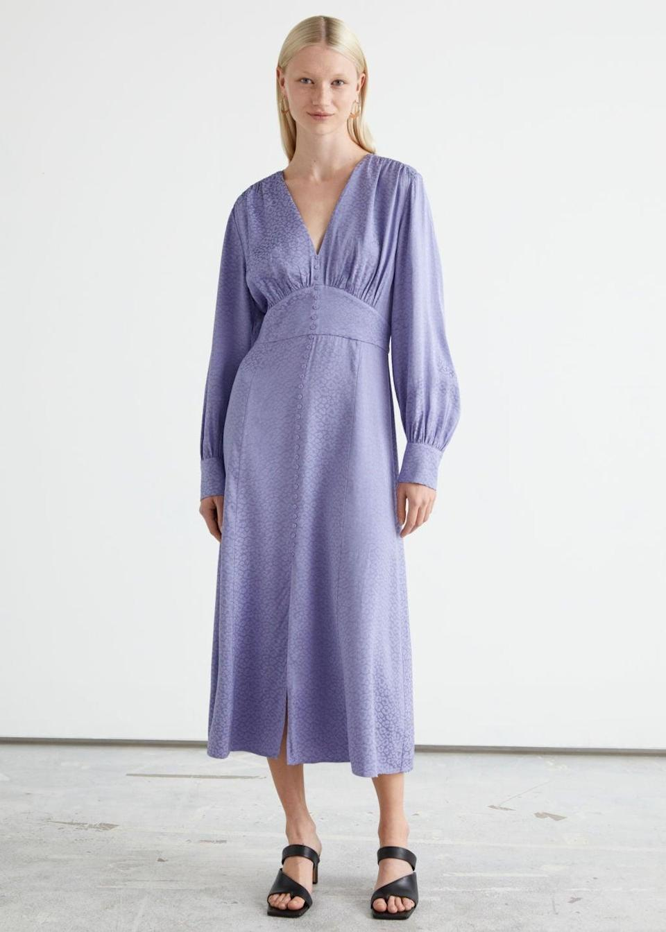 <p>From the fitted waistline to the voluminous sleeves, this <span>&amp; Other Stories Voluminous Sleeve Jacquard Midi Dress</span> ($90, originally $149) exudes femininity, confidence, and effortless style. The lavender color is also fresh and modern.</p>
