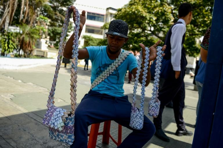 Wilmer Rojas turns almost worthless Venezuelan bolivar currency notes into handbags