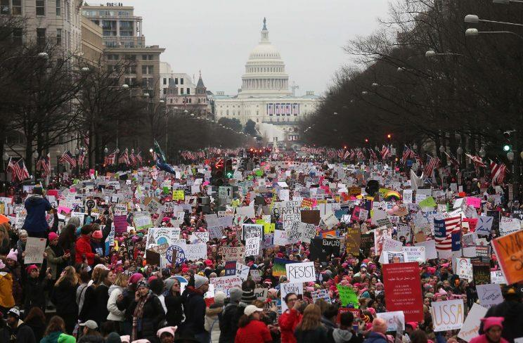 Protesters gather during the Women's March on Washington, with the U.S. Capitol in the background, on Jan. 21, 2017. (Mario Tama/Getty Images)