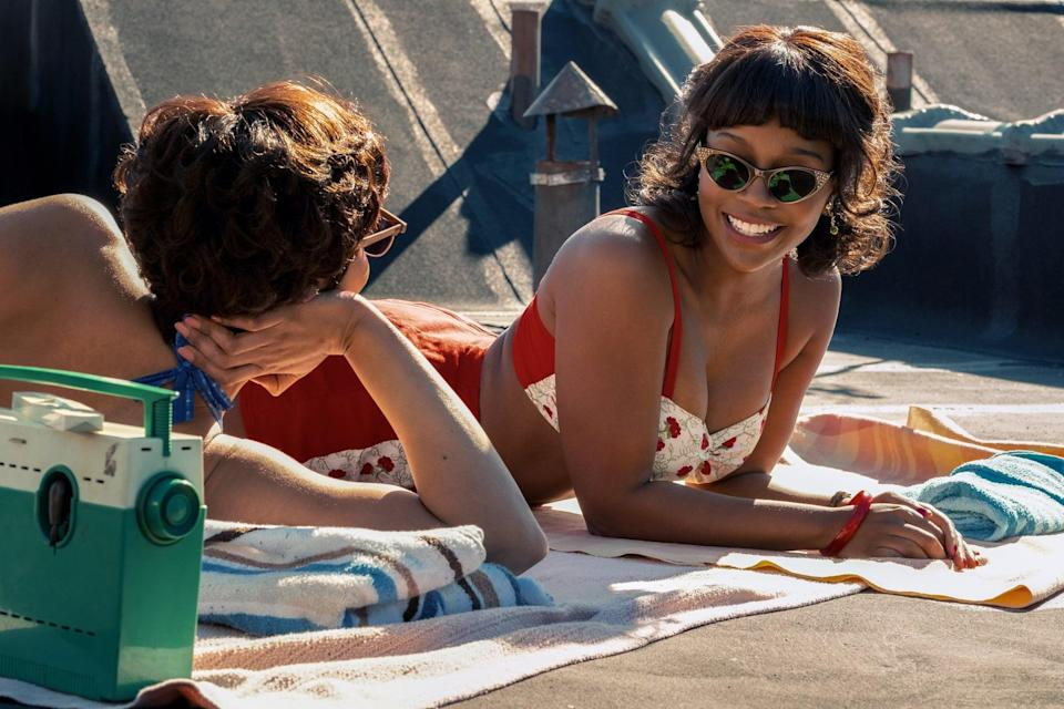 """<p>In 1950s Harlem, Sylvie (Tessa Thompson) is swept off her feet by an aspiring saxophonist after her father hires him to work in his record store. Their relationship comes to a crossroads when he receives an offer to perform in Paris. Unwilling to leave her family and give up her dreams of becoming a TV producer, Sylvie stays behind. When they're grown adults, they reconnect at an event and find the feelings they once had for each other never fully went away.</p> <p><a href=""""http://www.amazon.com/Sylvies-Love-Tessa-Thompson/dp/B08L484S5Y"""" class=""""link rapid-noclick-resp"""" rel=""""nofollow noopener"""" target=""""_blank"""" data-ylk=""""slk:Watch Sylvie's Love on Amazon Prime."""">Watch <strong>Sylvie's Love</strong> on Amazon Prime.</a></p>"""