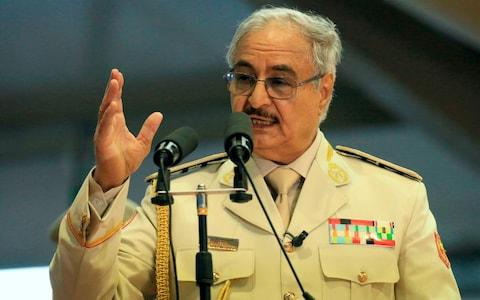 "Khalifa Haftar ordered his troops to ""advance"" on Tripoli on Thursday April 4 - Credit: ABDULLAH DOMA/AFP"