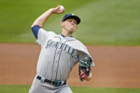 Seattle Mariners' Chris Flexen throws to the Minnesota Twins in the first inning of a baseball game Sunday, April 11, 2021, in Minneapolis. (AP Photo/Bruce Kluckhohn)