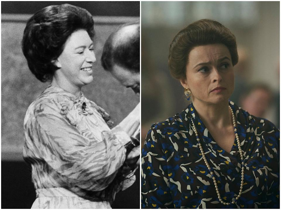 <p>Princess Margaret in 1980, Helena Bonham Carter in 'The Crown' season four</p>Getty Images/Netflix