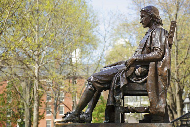 John Harvard monument (c. 1884) by Daniel Chester French (Cambridge, Massachusetts).