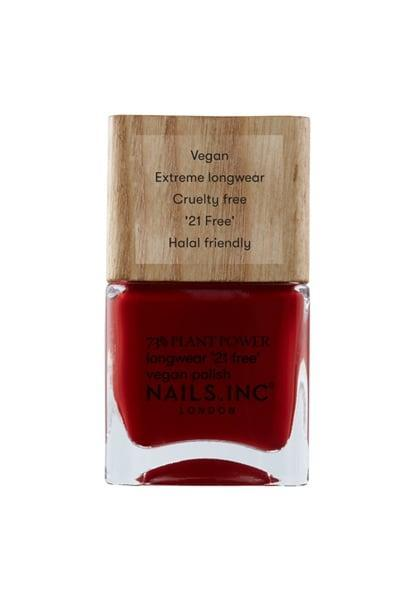 "<p>""Nothing, and I mean nothing, beats the look of a crips red manicure. In the fall, I trade my candy apple red shade for a deeper, bold hue like the <span>Nails Inc Swear By Salutation Plant Based Vegan Nail Polish</span> ($10). The color is so rich you can get away with just one coat if you're in a hurry (but I like doing two for the drama) and the formula is incredibly smooth and easy to use."" - JH</p>"