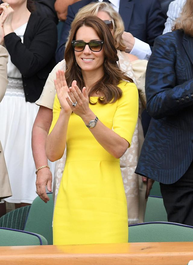Duchess of Cambridge attends day ten of the Wimbledon Tennis Championships at Wimbledon in July 2016 wearing Ray-Ban sunglasses. (Getty Images)
