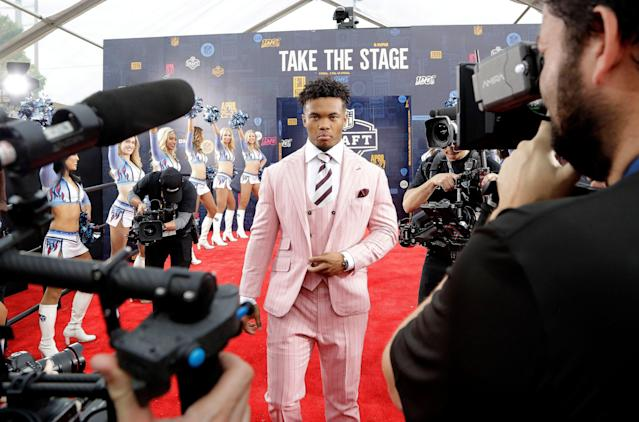 Oklahoma quarterback Kyler Murray walks the red carpet ahead of the first round at the NFL football draft. (AP)