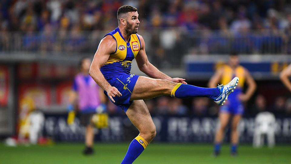 Jack Darling is seen here booting a goal for West Coast.