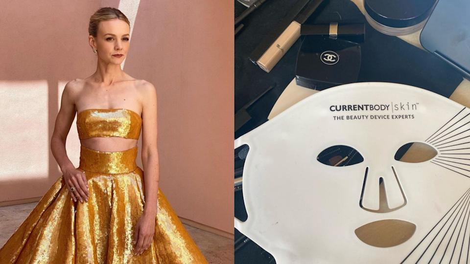 Carey Mulligan used the CurrentBody LED Face Mask while getting ready for the Academy Awards (Images/Instagram/GeorgieEisdell)