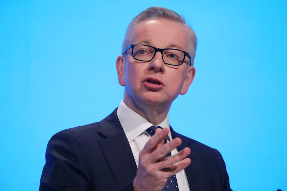 """Chancellor of the Duchy of Lancaster Michael Gove delivers a speech during the """"Delivering Brexit"""" session on day one of the Conservative Party Conference being held at the Manchester Convention Centre"""