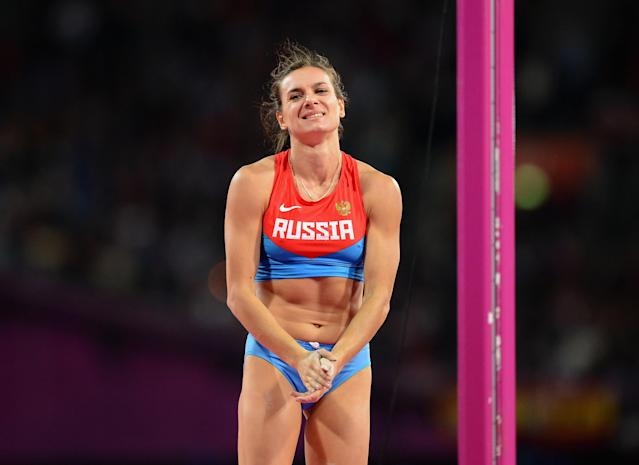 LONDON, ENGLAND - AUGUST 06: Elena Isinbaeva of Russia reacts as she loses her last attempt during the Women's Pole Vault event on Day 10 of the 2012 London Olympic Games at the Olympic Stadium on August 6, 2012 in London, England. (Photo by Julia Vynokurova/Getty Images)