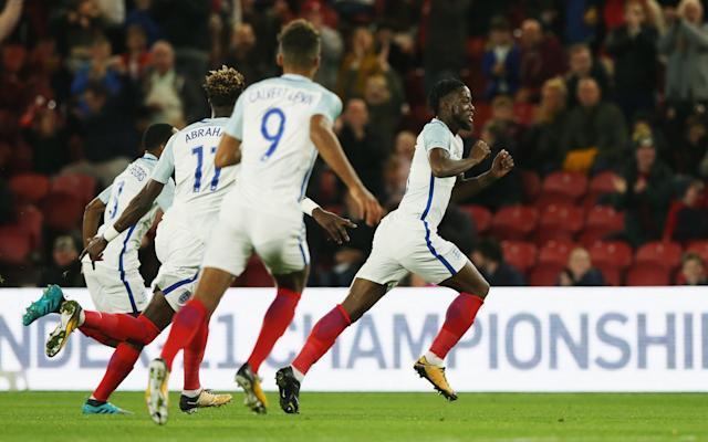 """If only it was this easy for England's senior team to achieve a victory. Late goals were not required last night as Aidy Boothroyd's under-21's outclassed Scotland in a European Championship qualifier at Middlesbrough. Josh Onomah, Tammy Abraham and Dominic Solanke scored England's goals and there should have been more against a Scotland side that replied through Chris Cadden in a rare attack. Scotland did have a right to feel optimistic after a win in their opening group game against the Netherlands, who had already held England to a draw. But it was optimism that swiftly evaporated as they went behind after only 14 minutes. Onomah, the Tottenham midfielder who is on loan at Aston Villa, was 25 yards from goal when he chested down Scott McKenna's headed clearance before steering a volley over goalkeeper Ryan Fulton. """"It was a terrific goal. I don't think he has scored a better one,"""" Boothroyd said. Tammy Abraham makes it 2-0 from the penalty spot """"If I tried it a hundred times, it wouldn't go in, but he would get half of them on target """"He didn't score too many for Tottenham, but seems to score for us. Getting game time for Villa is definitely helping him to improve."""" Scotland were fortunate not to concede at least one more goal before the interval, notably when Abraham stretch to divert the ball against a post and had another effort blocked on the line by Liam Smith. Scotland's only response in the opening 45 minutes was as feeble as their first-half performance when Dominic Thomas's 27th minute shot lacked the pace and accuracy needed to trouble goalkeeper Angus Gunn. The second-half that was again largely controlled by England, who added their second goal through Abraham's 49th minute penalty, awarded when he stumbled under a challenge from Souttar. Scotland briefly threatened a revival in the 78th minute goal when Cadden scored after Joe Gomez failed to clear, but Solanke replied seconds later following unselfish work by Abraham. Boothroyd said:""""It's an importa"""