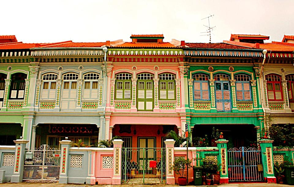 Colorful shophouses in Katong, Singapore; Source: Getty