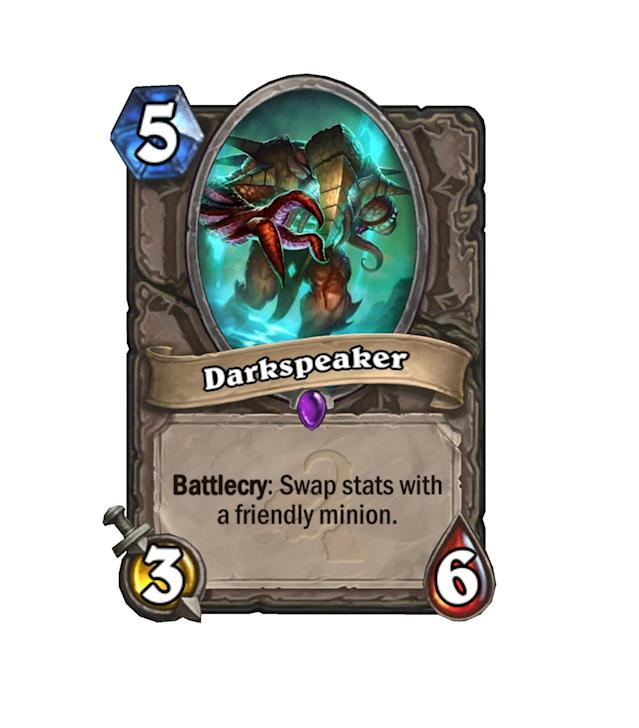 <p>A worse Vol'jin, Darkspeaker either steals the fat stats of an enemy, leaving them with an otherwise solid 3/6 body, or just becomes a weak minion for 5 mana. Don't expect to see much of him.</p>