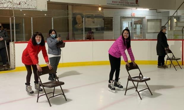 Newcomers learn to skate this past winter at the O'Leary arena. (Submitted by Scott Smith - image credit)