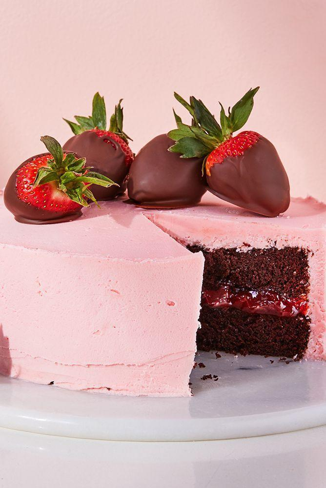 """<p>This Chocolate <a href=""""https://www.delish.com/uk/cooking/recipes/a29016981/strawberries-n-cream-oatmeal-recipe/"""" rel=""""nofollow noopener"""" target=""""_blank"""" data-ylk=""""slk:Strawberry"""" class=""""link rapid-noclick-resp"""">Strawberry</a> Cake is a showstopper, right? A deliciously tender <a href=""""https://www.delish.com/uk/cooking/recipes/g30977937/chocolate-cake-recipes/"""" rel=""""nofollow noopener"""" target=""""_blank"""" data-ylk=""""slk:chocolate sponge cake"""" class=""""link rapid-noclick-resp"""">chocolate sponge cake</a> made with brewed <a href=""""https://www.delish.com/uk/cocktails-drinks/a30596110/coffee-shops-near-me/"""" rel=""""nofollow noopener"""" target=""""_blank"""" data-ylk=""""slk:coffee"""" class=""""link rapid-noclick-resp"""">coffee</a>, perfectly complimented with the strawberry buttercream of dreams. </p><p>Get the <a href=""""https://www.delish.com/uk/cooking/recipes/a31954937/chocolate-strawberry-cake/"""" rel=""""nofollow noopener"""" target=""""_blank"""" data-ylk=""""slk:Chocolate Strawberry Cake"""" class=""""link rapid-noclick-resp"""">Chocolate Strawberry Cake</a> recipe.</p>"""