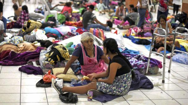 PHOTO: Residents of several communities safeguard in a temporary shelter in Escuintla department, 22 miles south of Guatemala City, June 3, 2018, for fear of new outbursts of the Fuego volcano. (Johan Ordonez/AFP/Getty Images)