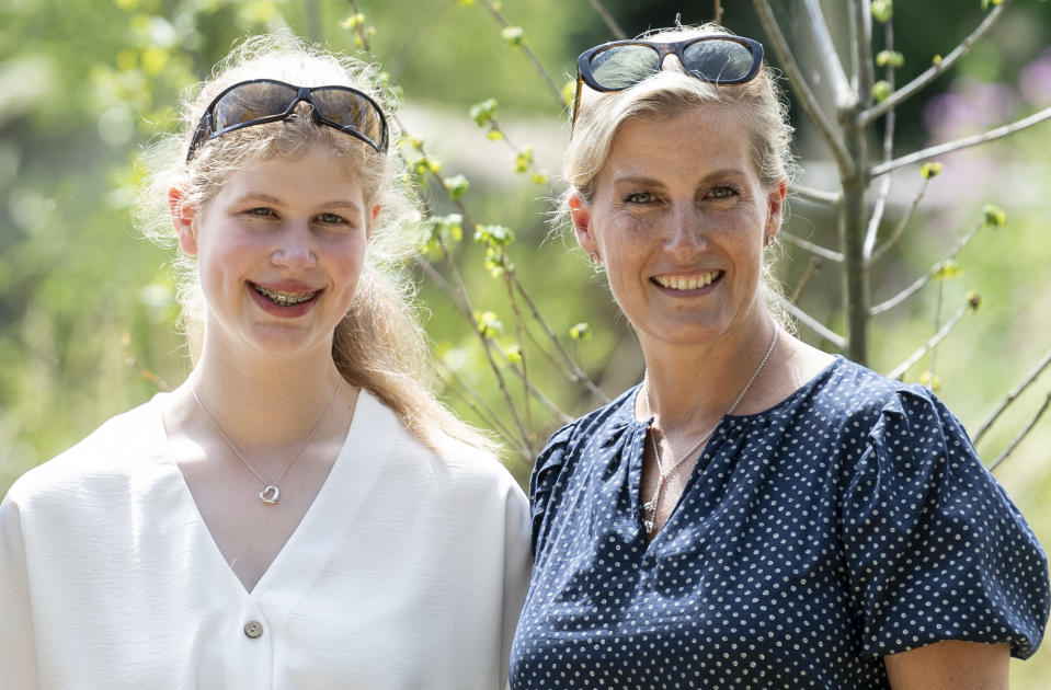 BRISTOL, ENGLAND - JULY 23: Sophie, Countess of Wessex with Lady Louise Windsor during a visit to The Wild Place Project at Bristol Zoo on July 23, 2019 in Bristol, England. (Photo by Mark Cuthbert/UK Press via Getty Images)