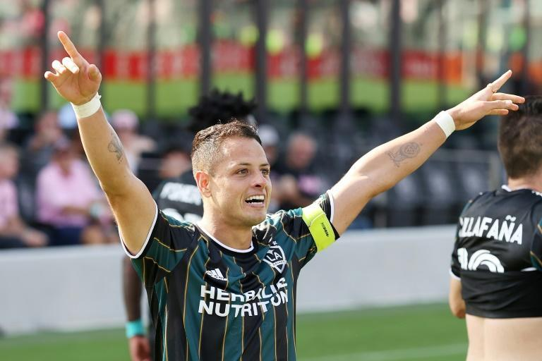 Javier 'Chicharito' Hernandez celebrates after scoring one of his two goals in the Los Angeles Galaxy's 3-2 victory over Inter Miami in the teams' Major League Soccer season opener